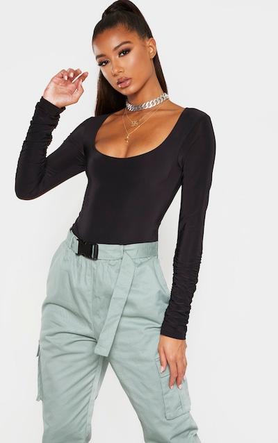Black Slinky Ruched Long Sleeve Bodysuit
