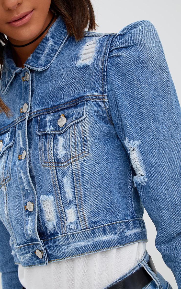Mid Wash Extreme Shoulder Cropped Denim Jacket 5