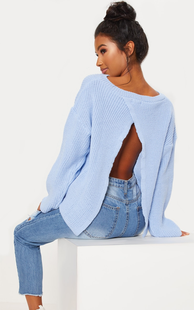 Dusky Blue Open Back Jumper