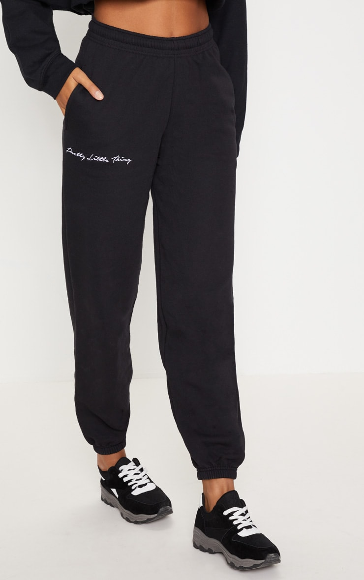 PRETTYLITTLETHING Black Embroidered Track Pants 2