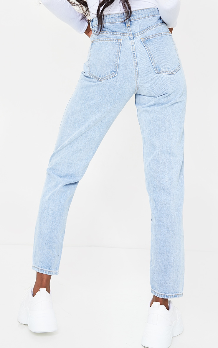PRETTYLITTLETHING Tall Light Blue Distressed Mom Jeans 3