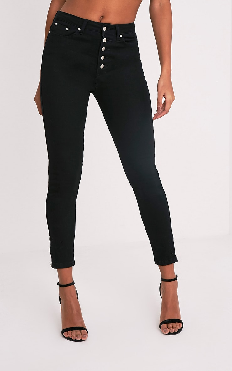 Khloe jean skinny noir taille haute à boutons 4