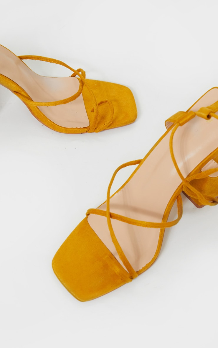 Mustard Chunky Block Heel Strappy Ankle