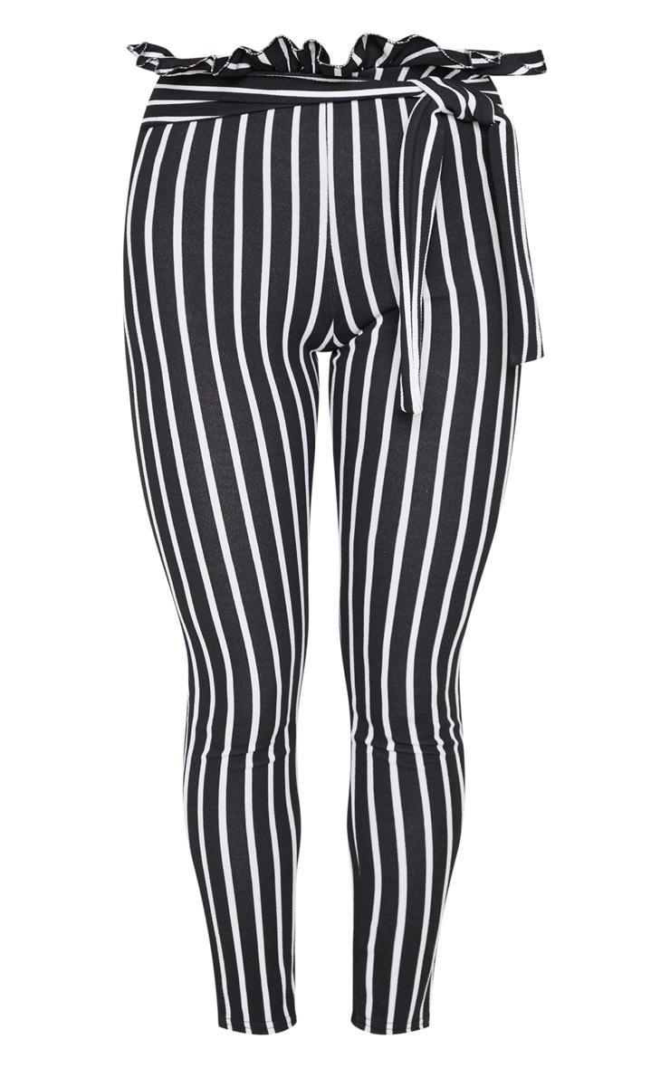 Black Pinstripe Paperbag Skinny Trousers  3