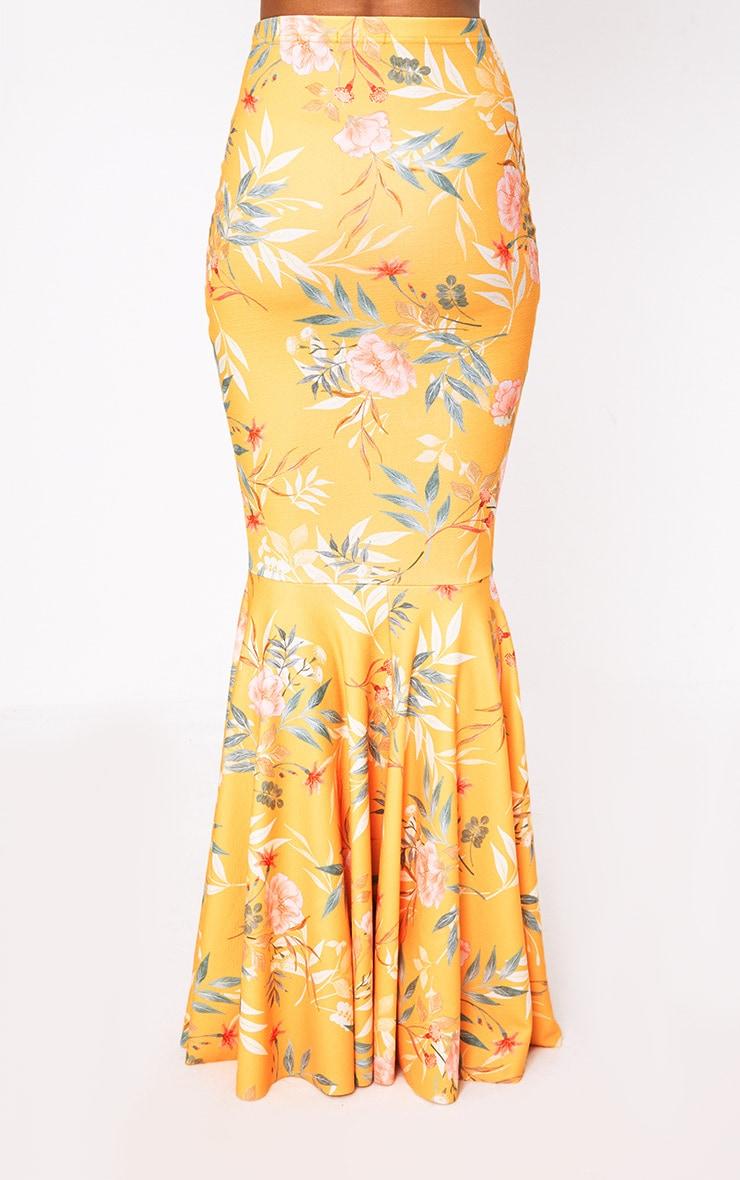 Orange Tropical Print Fishtail Maxi Skirt 5