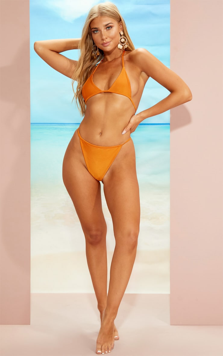 Orange Minimal Triangle Bikini Set 4