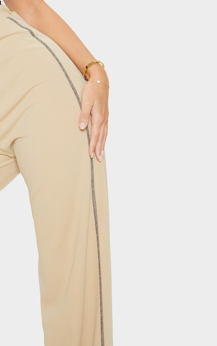 Pantalon ample gris pierre en crêpe à coutures contrastantes 5