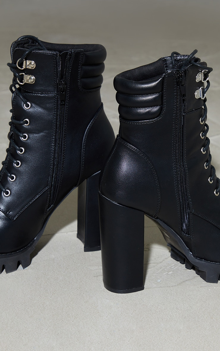 Black PU Lace Up Quilted Ankle Cleated High Heeled Ankle Boots 4