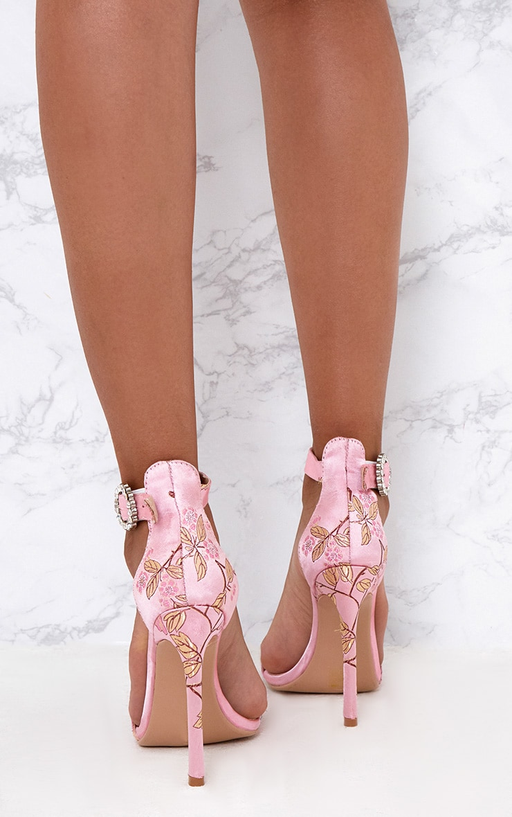 Pink Jacquard Diamante Buckle Strappy Heels 4