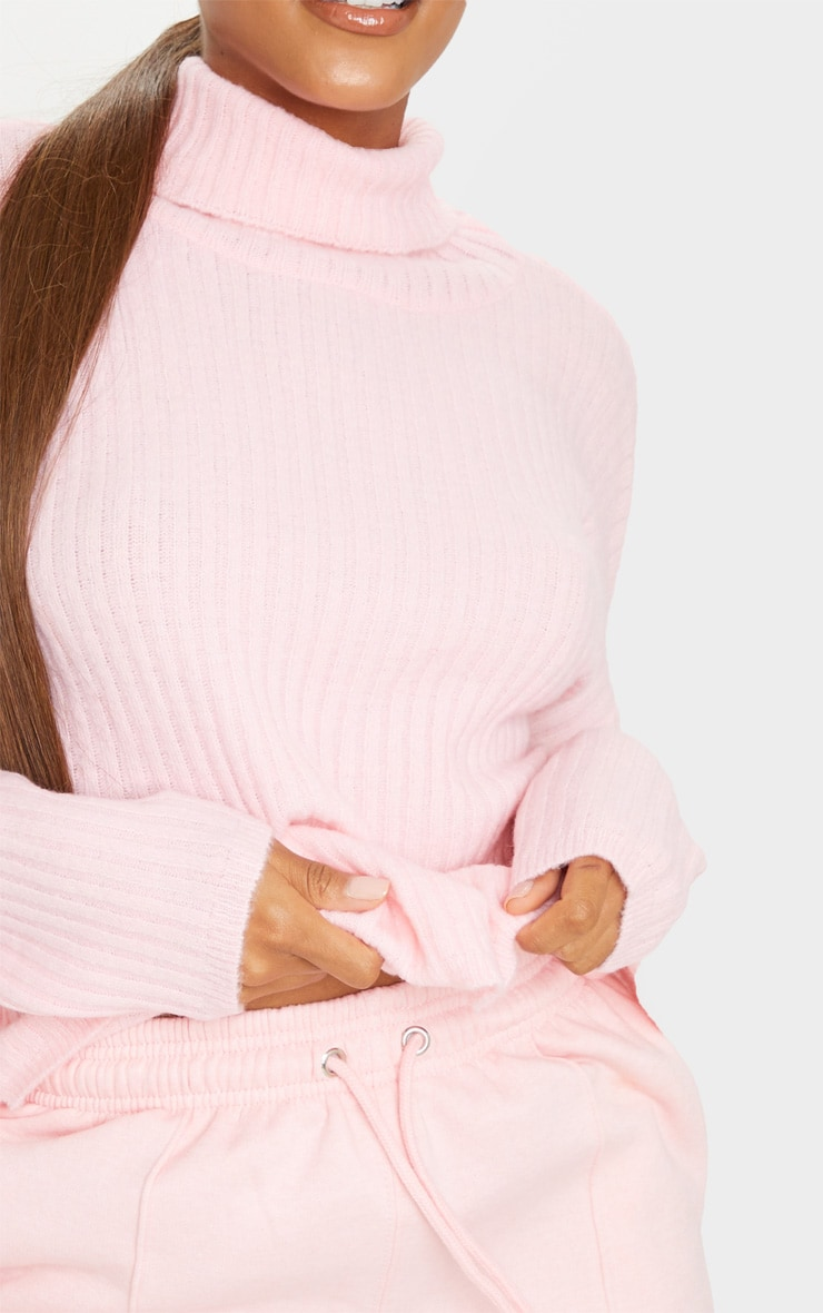 Pink Ribbed Roll Neck Textured Yarn Sweater 4