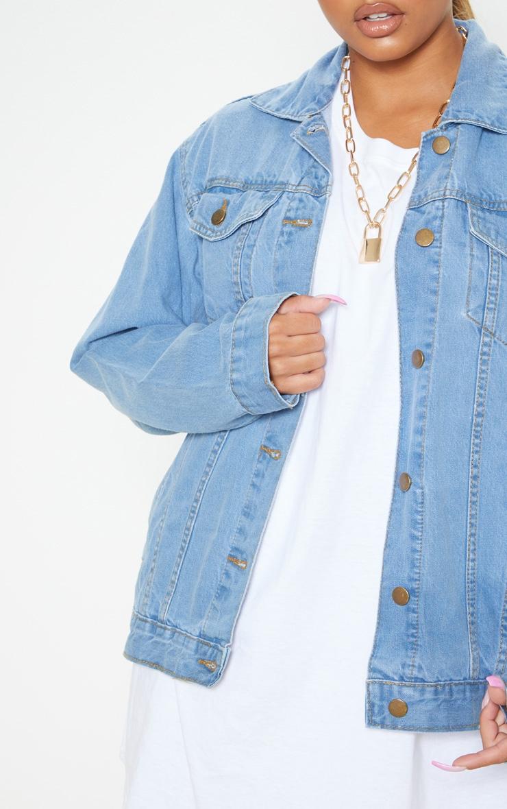 Mid Wash Oversized Boyfriend Denim Jacket 5