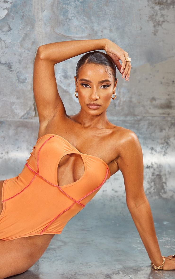 Orange Slinky Contrast Binding Bandeau Bodysuit 1