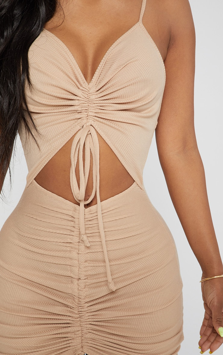 Shape Stone Ribbed Ruched Cut Out Bodycon Dress 5