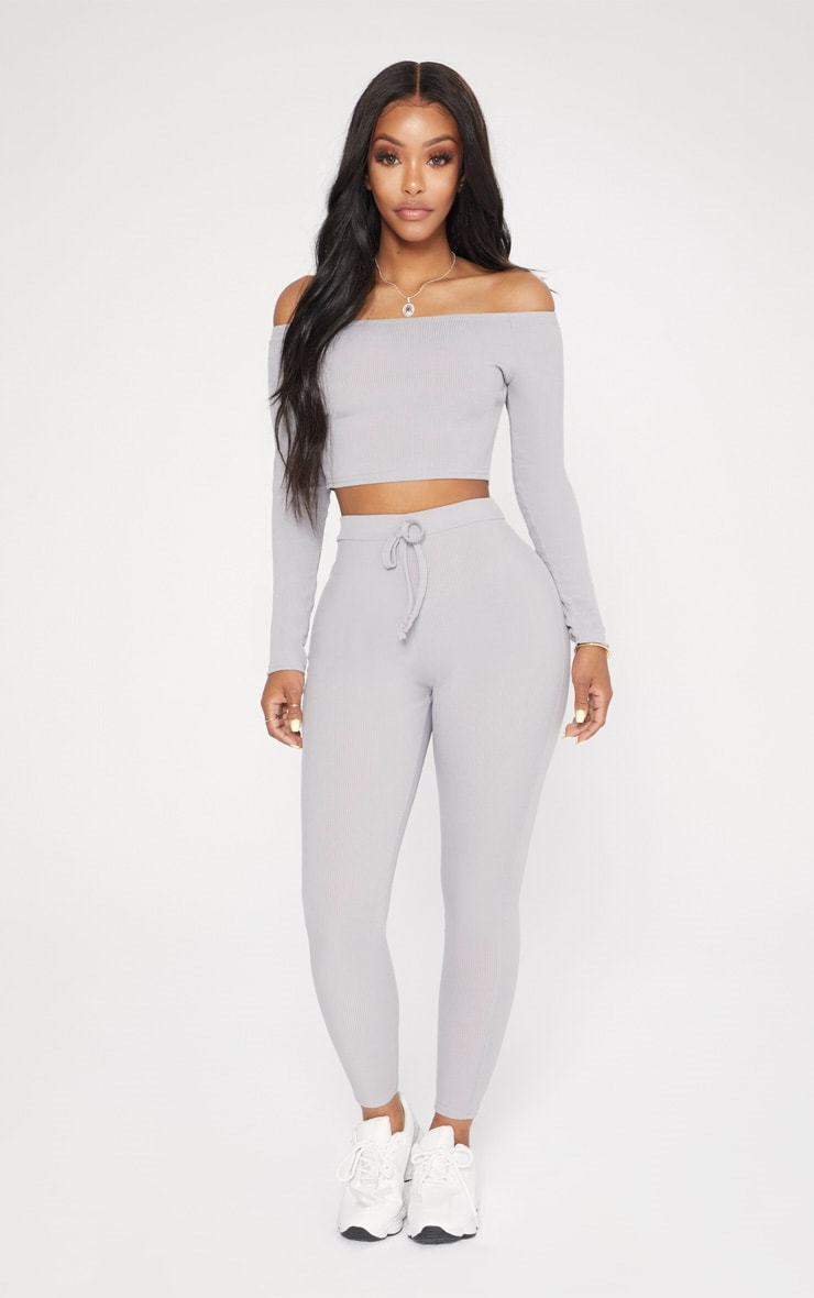 Shape Grey Marl Ribbed Bardot Long Sleeve Crop Top 4