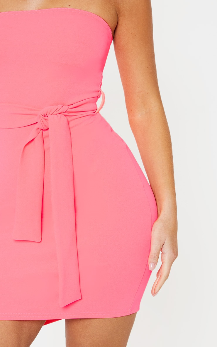 Neon Pink Bandeau Tie Waist Bodycon Dress 5