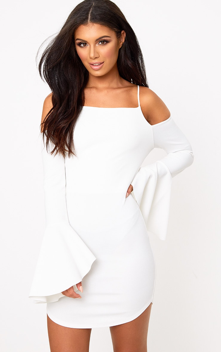 White Cold Shoulder Flared Sleeve Bodycon Dress 1