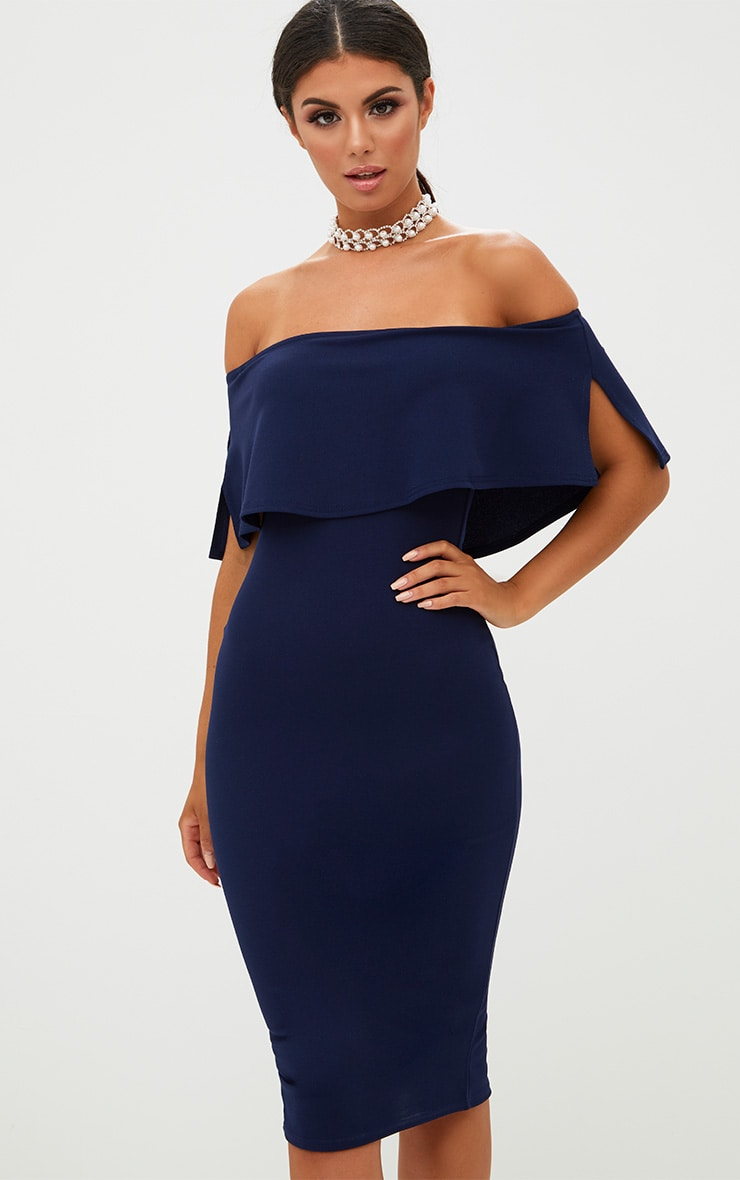 b37a02e1f360 Navy Bardot Frill Midi Dress image 1