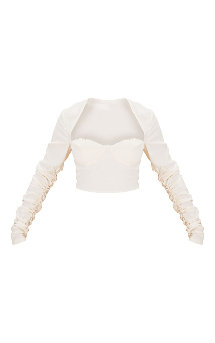 Cream Woven Cup Detail Ruched Sleeve Crop Top 5