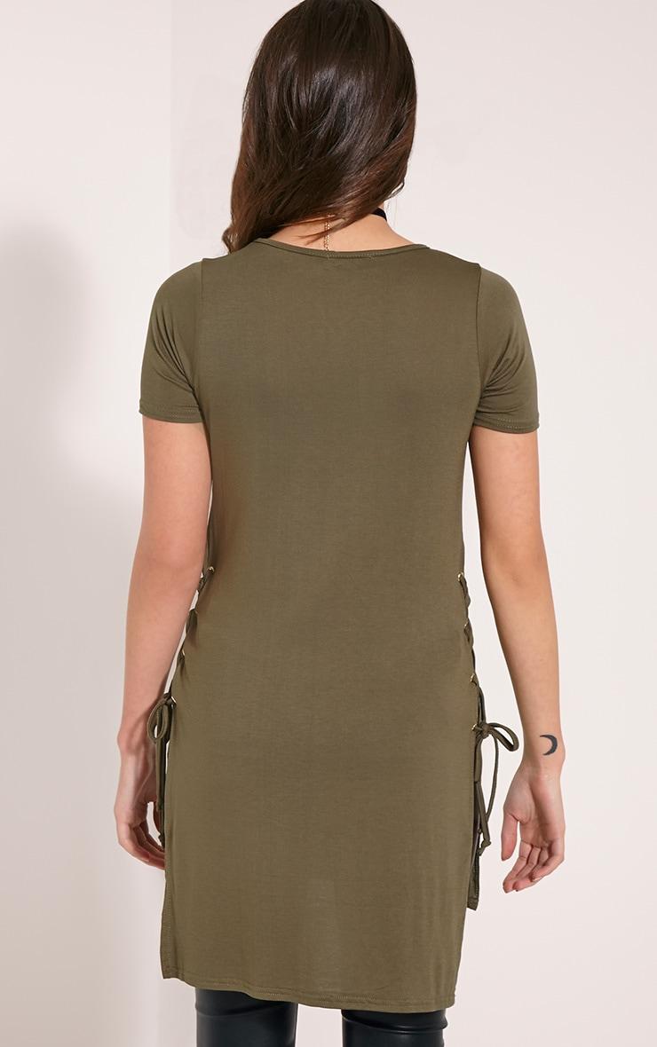 Andromeda Khaki Eyelet Tie Side Jersey T-Shirt 2