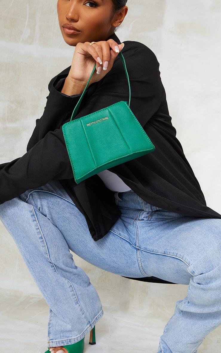 PRETTYLITTLETHING Green Triangular Shoulder Bag image 1