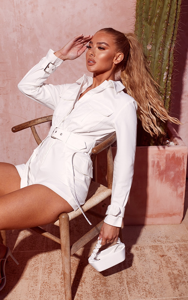 White Cargo Buckle Detail Belted Playsuit 4