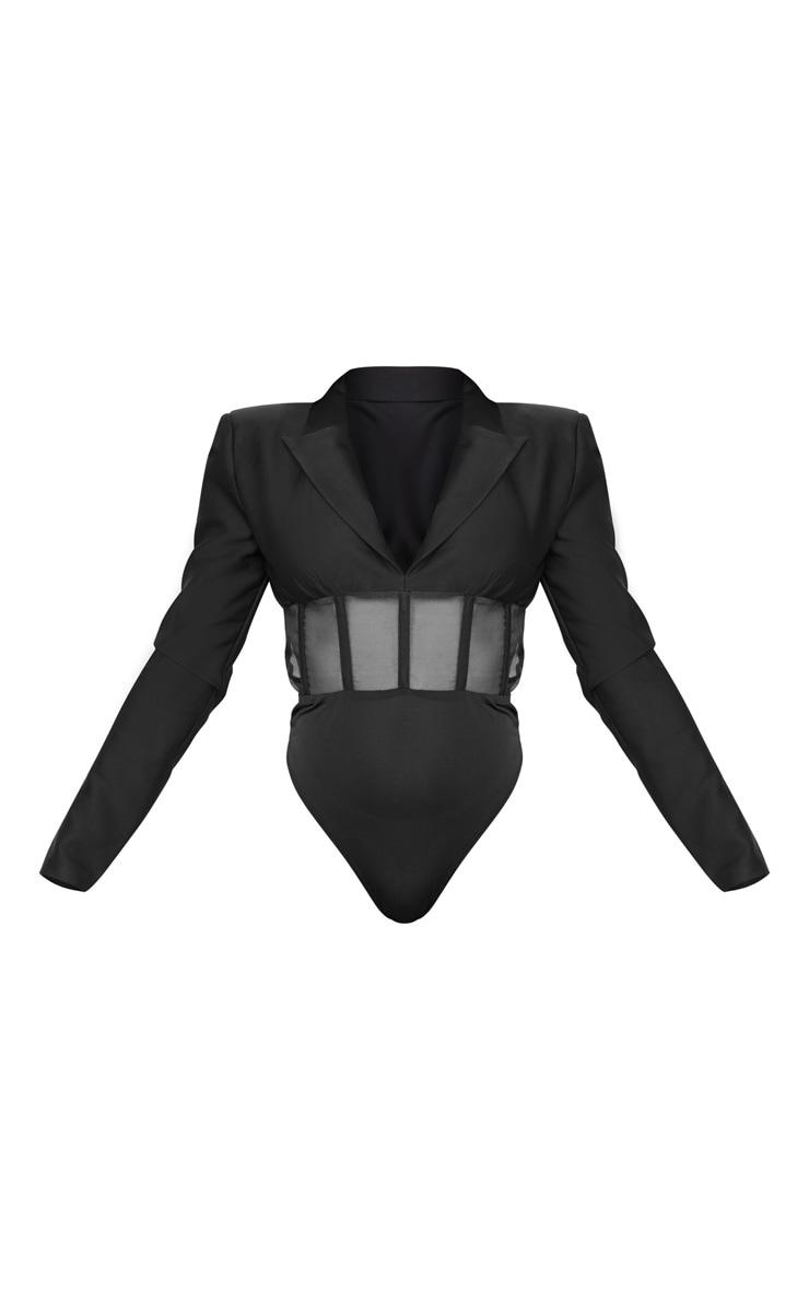 Black Woven Mesh Panelled Insert Long Sleeve Bodysuit 5