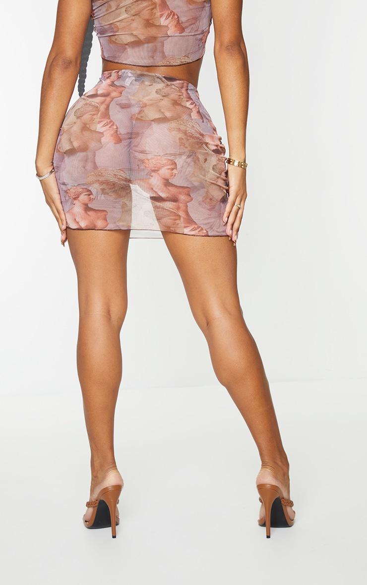 Shape Lilac Renaissance Print Sheer Mesh Seam Detail Bodycon Skirt 3