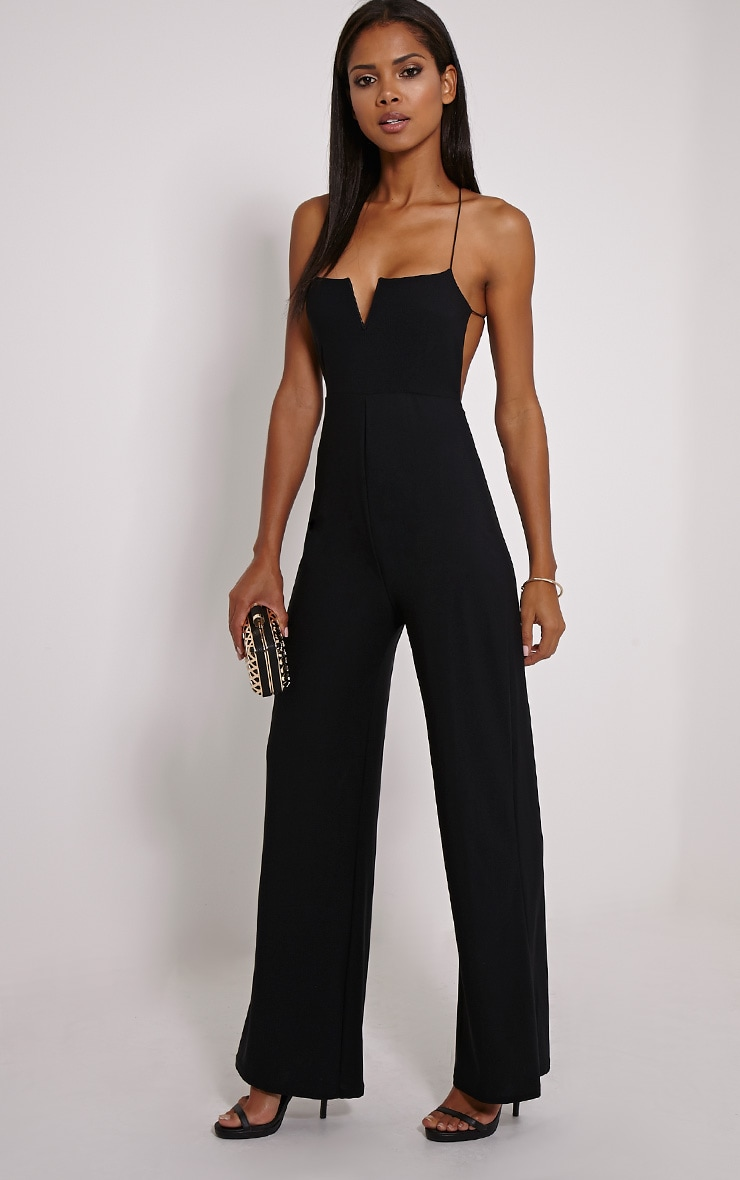 Delara Black Cross Back Jumpsuit 1