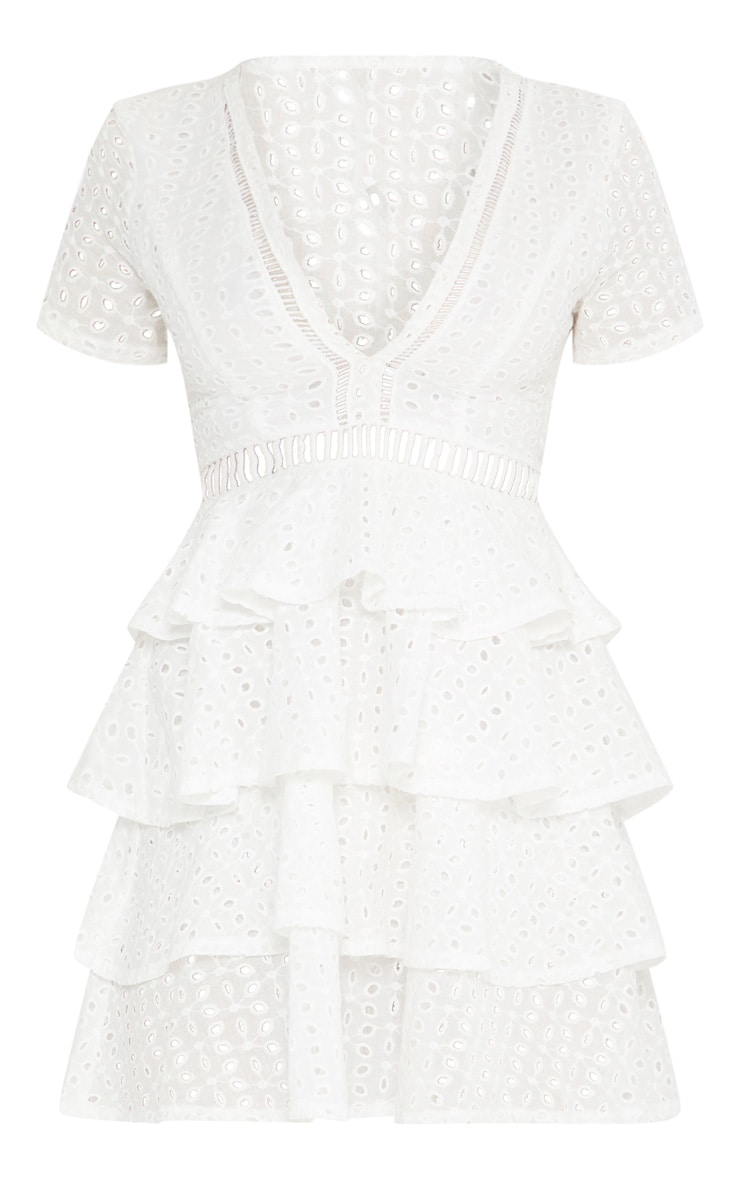 White Lace Tier Frill Plunge Skater Dress 4