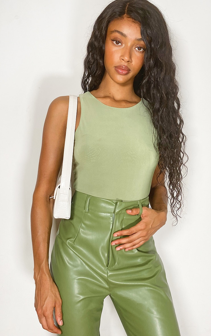 Sage Green Slinky Racer Sleeveless Bodysuit 2