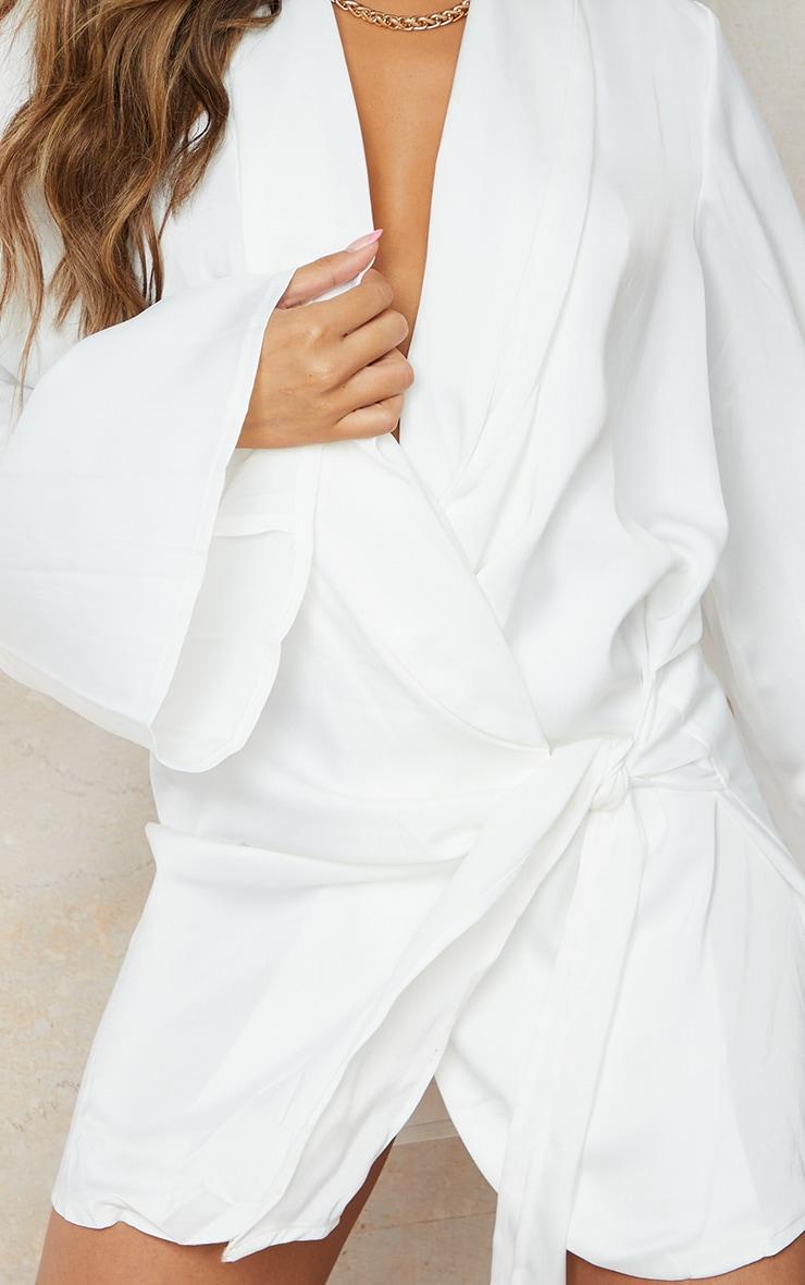 White Extreme Plunge Tie Detail Shift Blazer Dress 4
