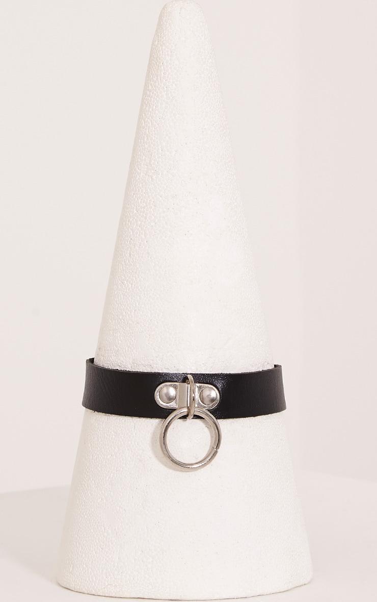 Yasmin Black Faux Leather Ring Detail Choker 3