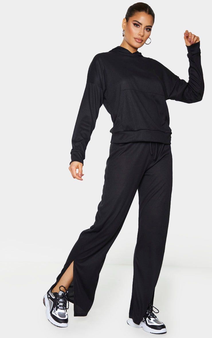 Tall Black Ribbed Split Hem Flared Pants 1