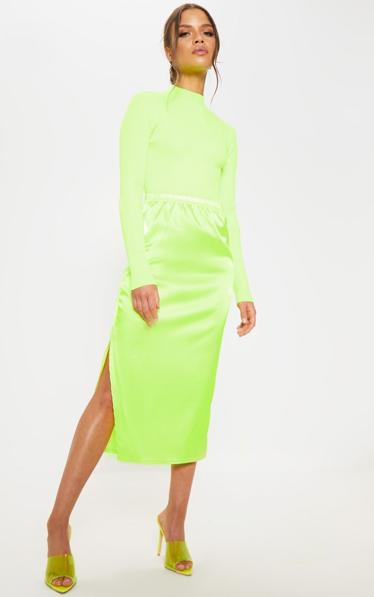 catch order buying cheap Lime Satin Side Split Midi Skirt