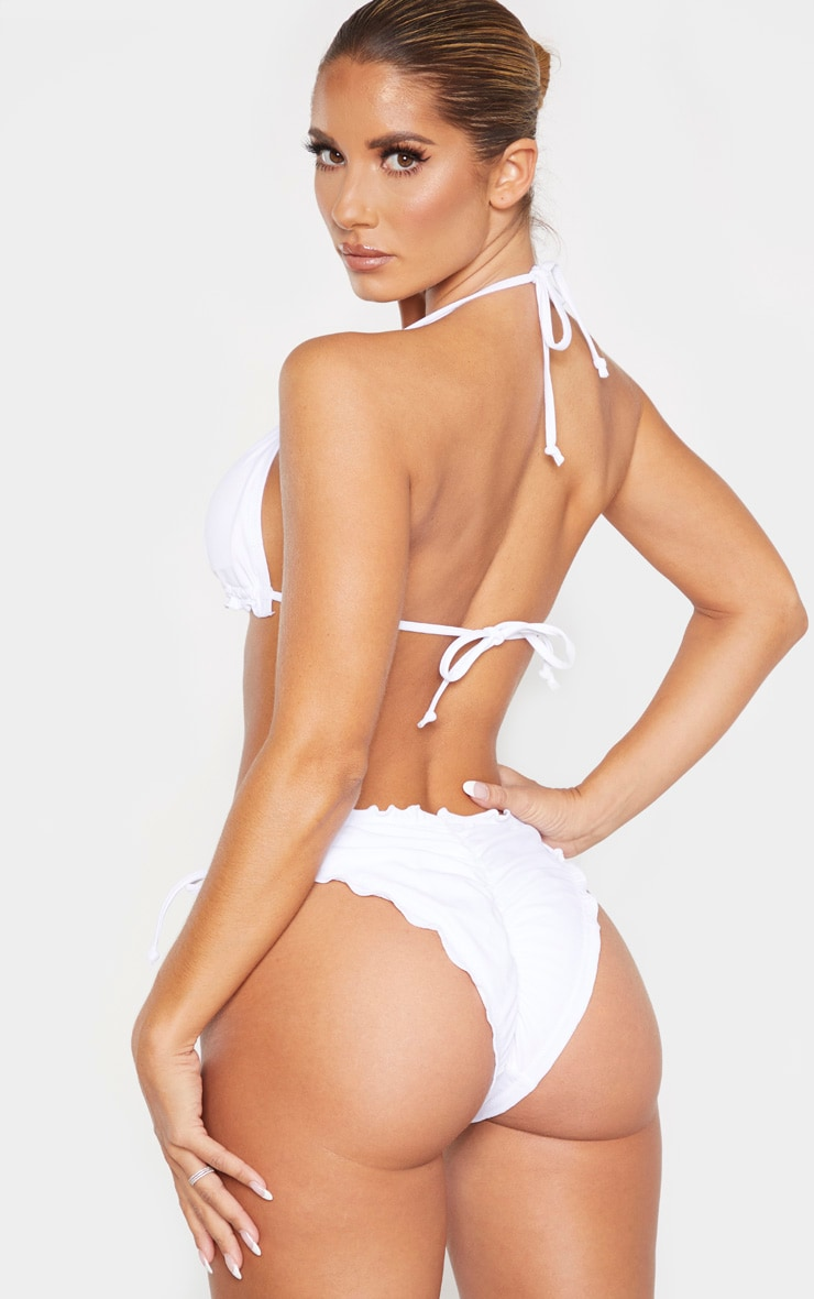 White Frill Edge Padded Bikini Top 2