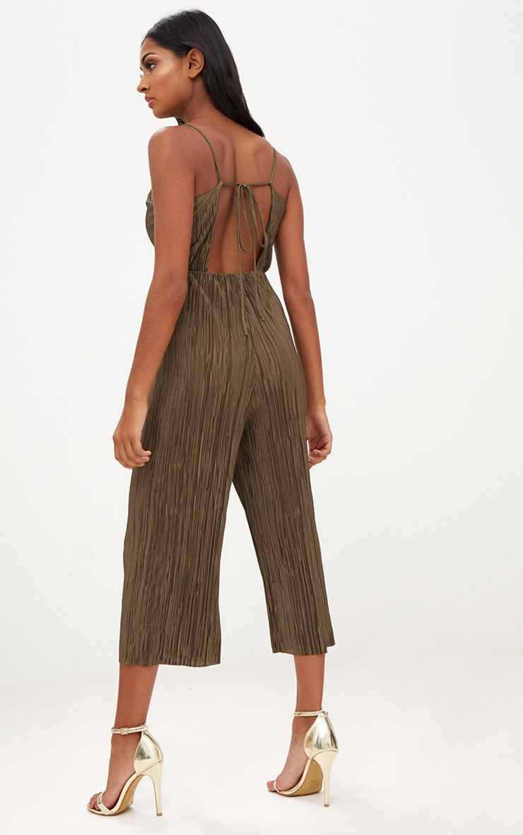 Khaki Pleated Tie Back Culotte Jumpsuit 1