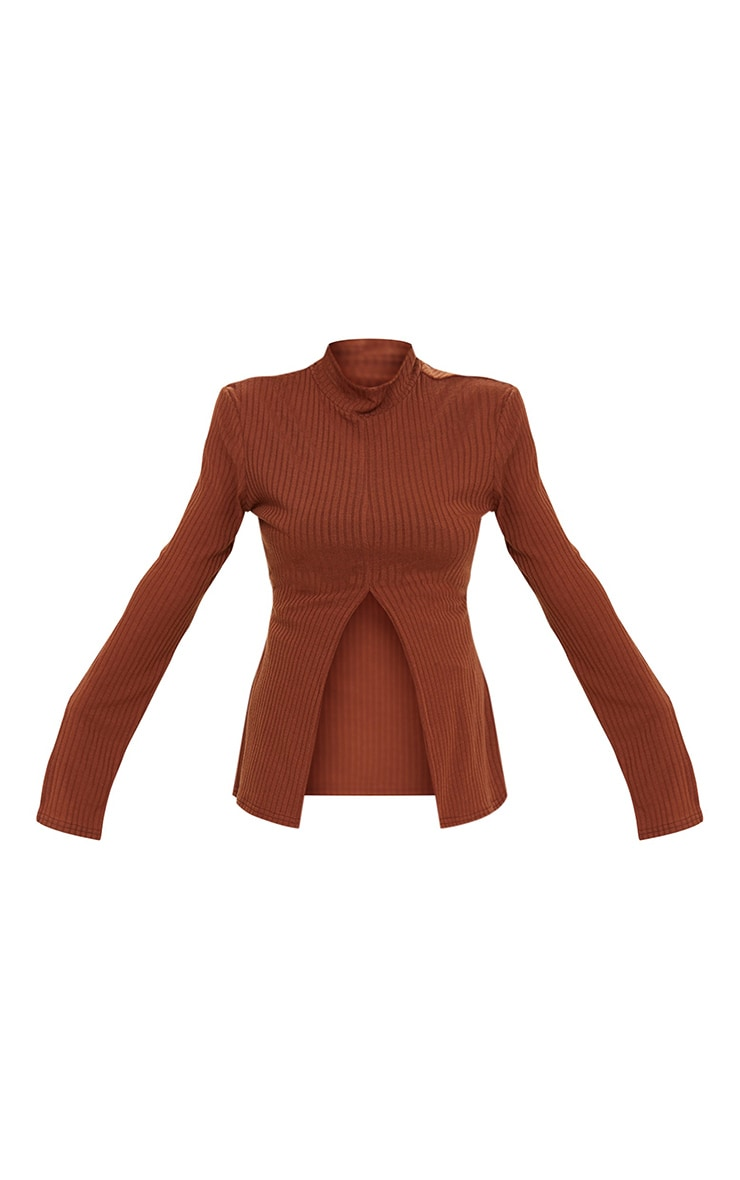 Chocolate Brown Soft Rib Split Front High Neck Long Sleeve Top 5