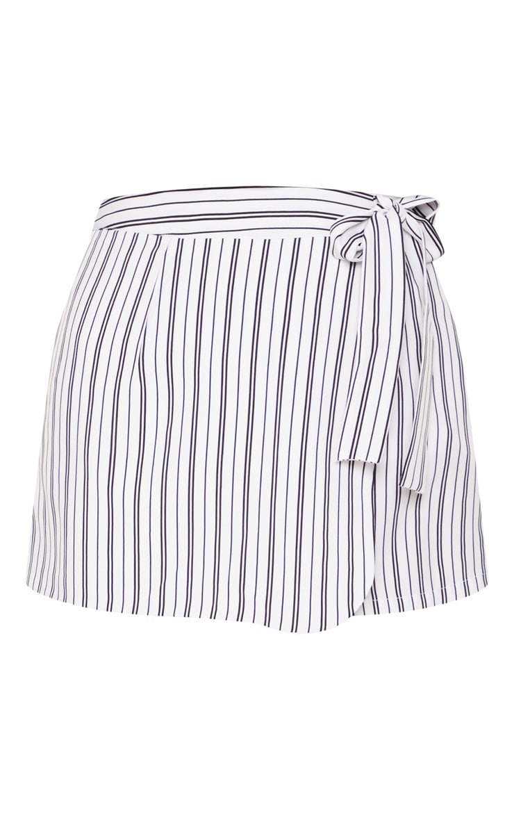 Monochrome Stripe Side Tie Skort 3