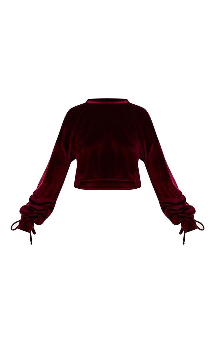 Maroon Velvet Ruched Sleeve Crop Sweater  3