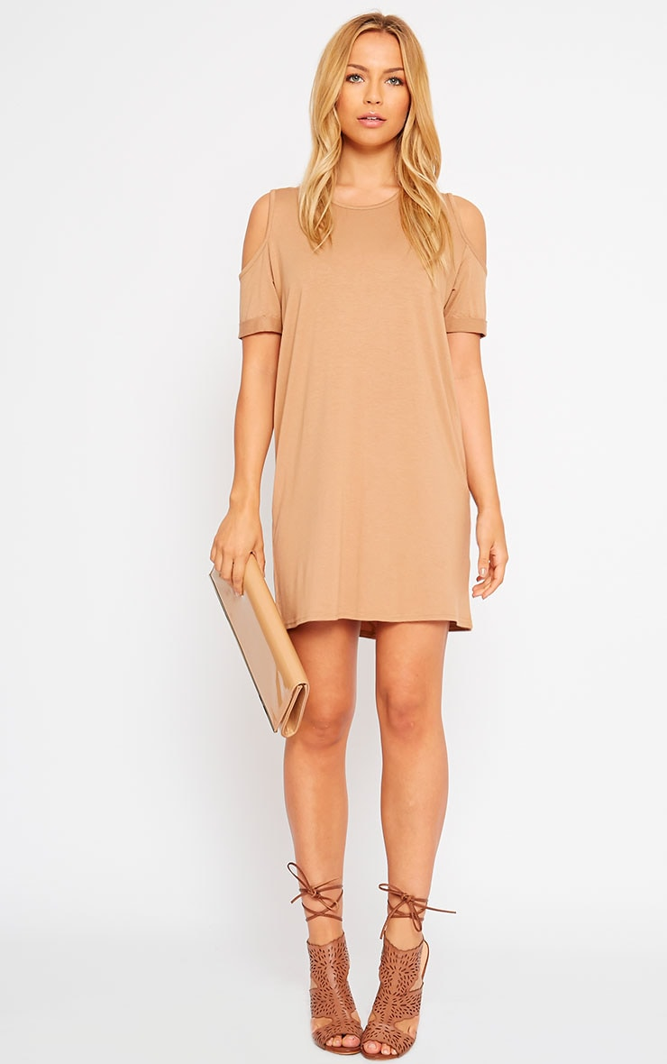 Basic Camel Cut Out Shoulder Dress 3