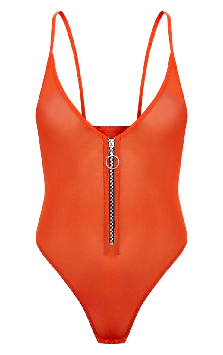 Orange Mesh Zip Front Thong Bodysuit 3