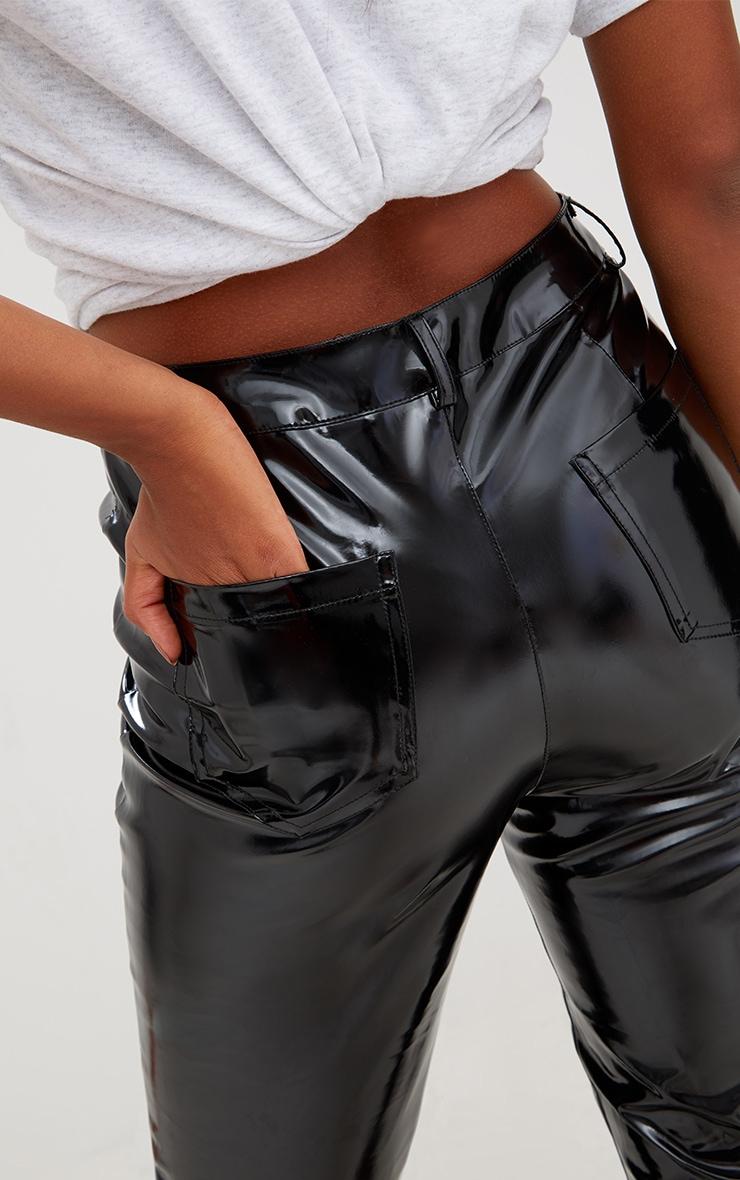 Pantalon à lacets et œillets vinyle noir 5