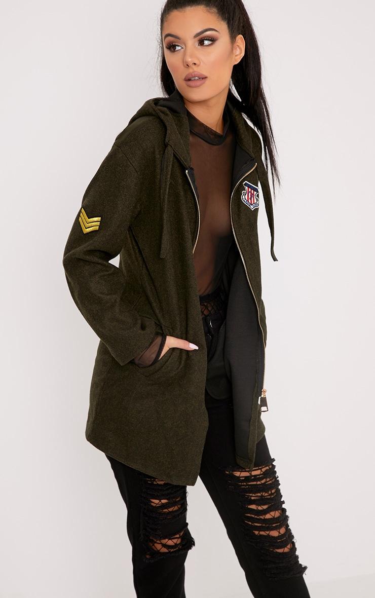 Isla Khaki Badge Detail Hooded Parka Jacket 1