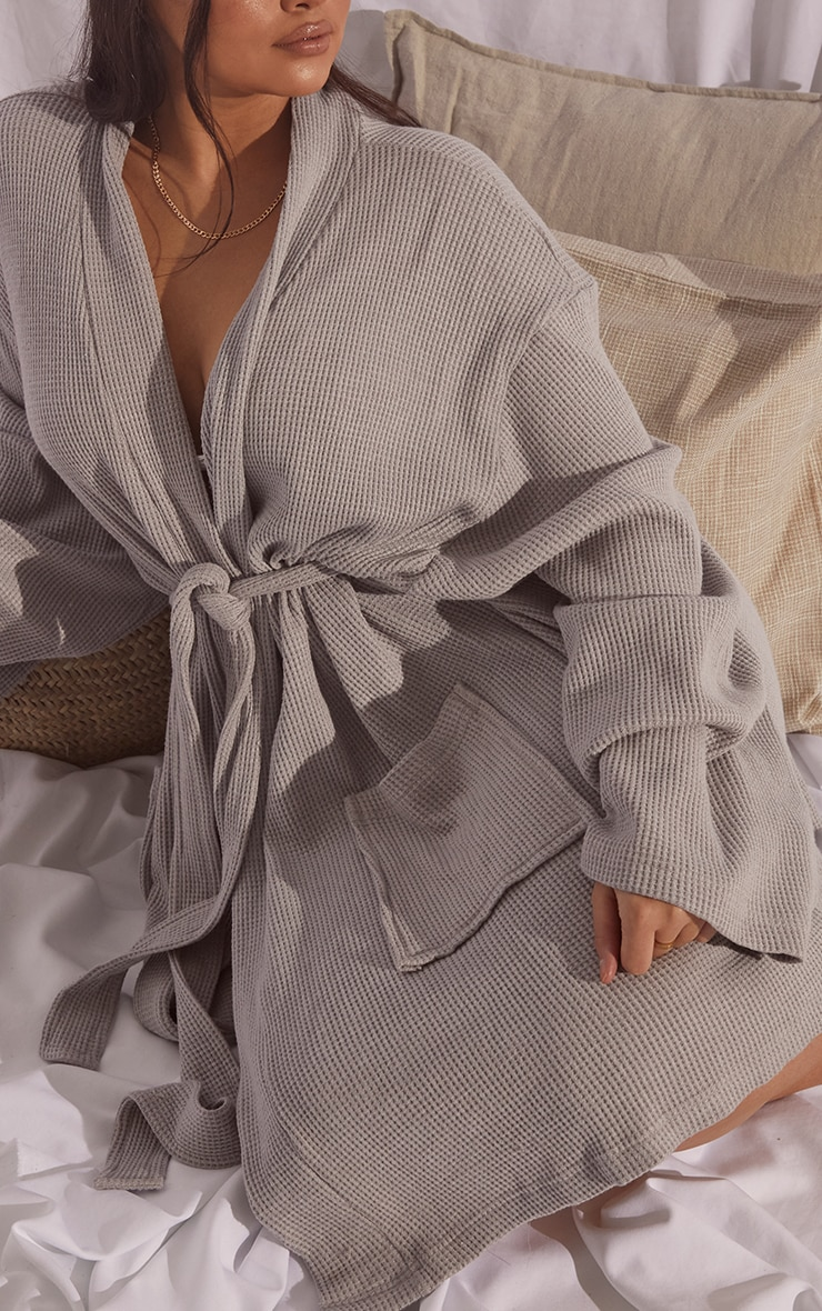 Plus Grey Soft Waffle Dressing Gown  4