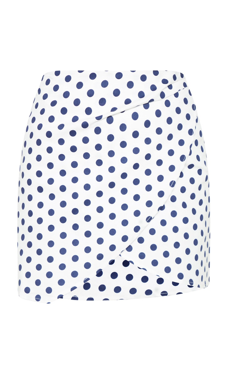 White Denim Polka Dot Wrap Over Skirt 3