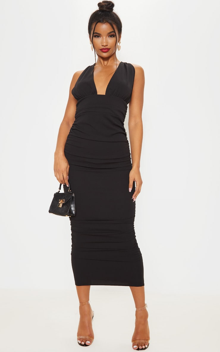 Black Deep Plunge Ruched Midaxi Dress 4