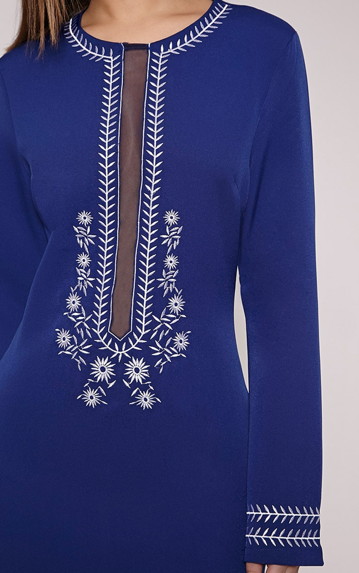Calvy Navy Embroidered Shift Dress 5