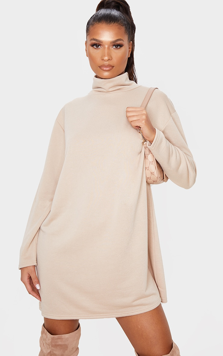Camel Roll Neck Long Sleeve Oversized Sweater Dress 1
