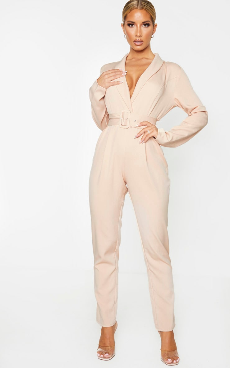 Nude Lapel Detail Belted Jumpsuit 1