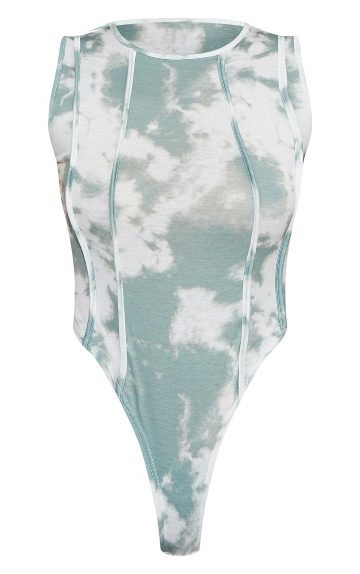 Sage Green Acid Wash Overlock Seam Sleeveless Bodysuit 5
